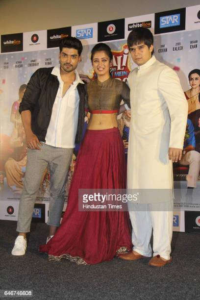 Bollywood actors Akshara Haasan Gurmeet Choudhary and Vivaan Shah during a trailer launch of movie 'Laali Ki Shaadi Mein Laddoo Deewana' at Cinepolis...