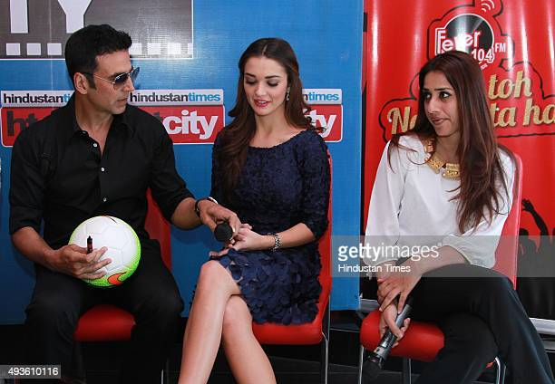 Bollywood actors Akshay Kumar Amy Jackson and producer Ashvini Yardi during an exclusive with HT CityHindustan Times for the promotion of upcoming...