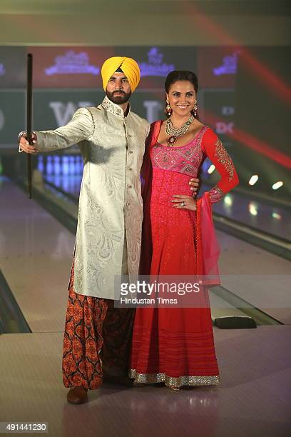 Bollywood actors Akshay Kumar and Amy Jackson pose for a photograph during the fashion show Style and the Sikh themed Bling at Essex farms Aurobindo...