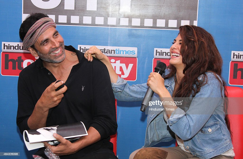Bollywood actors Akshay Kumar and Jacqueline Fernandez during an exclusive interview for the promotion of their upcoming film Brothers at HT Media...