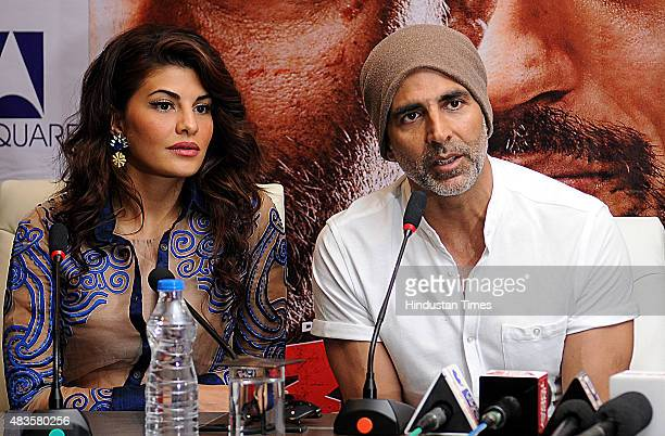 Bollywood actors Akshay Kumar and Jacqueline Fernandez during the promotional event of their soontorelease movie 'Brothers' at Lovely Professional...