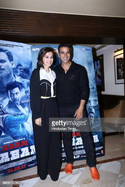 Bollywood actors Akshay Kumar and Taapsee Pannu during the special screening of film 'Naam Shabana' for Delhi Women Police officers at Connaught...
