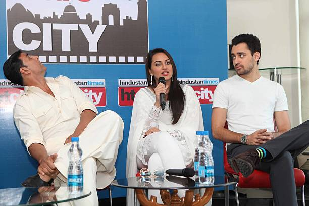 Bollywood actors Akshay Kumar Sonakshi Sinha and Imran Khan during an exclusive interview for promotion of upcoming movie Once Upon A Time in Mumbai..