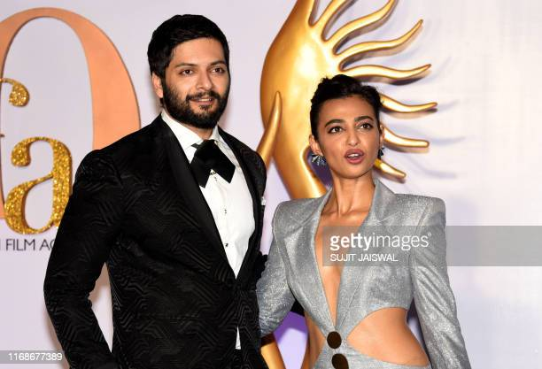 Bollywood actors Ali Fazal and Radhika Apte arrive for the IIFA Rocks of the 20th International Indian Film Academy Awards at NSCI Dome in Mumbai on...