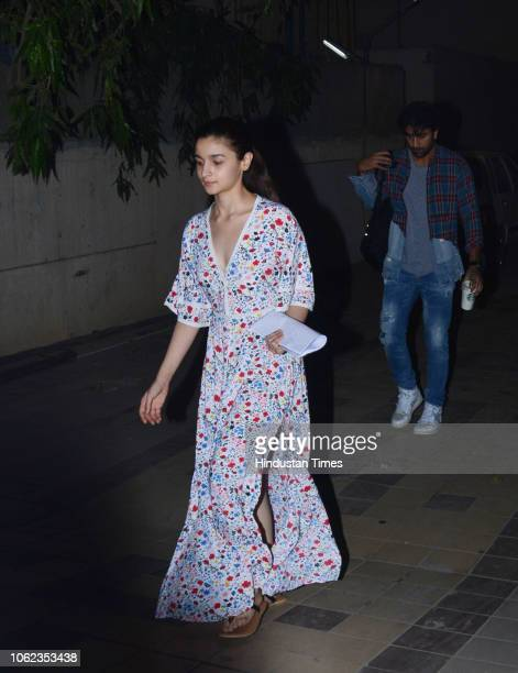 Bollywood actors Alia Bhatt and Ranbir Kapoor were seen hanging in Bandra on November 7 2018 in Mumbai India