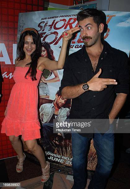 Bollywood actors Amisha Patel and Neil Nitin Mukesh during the Shiamak's Summer Funk Show 2013 for promotion of their upcoming film Shortcut Romeo...