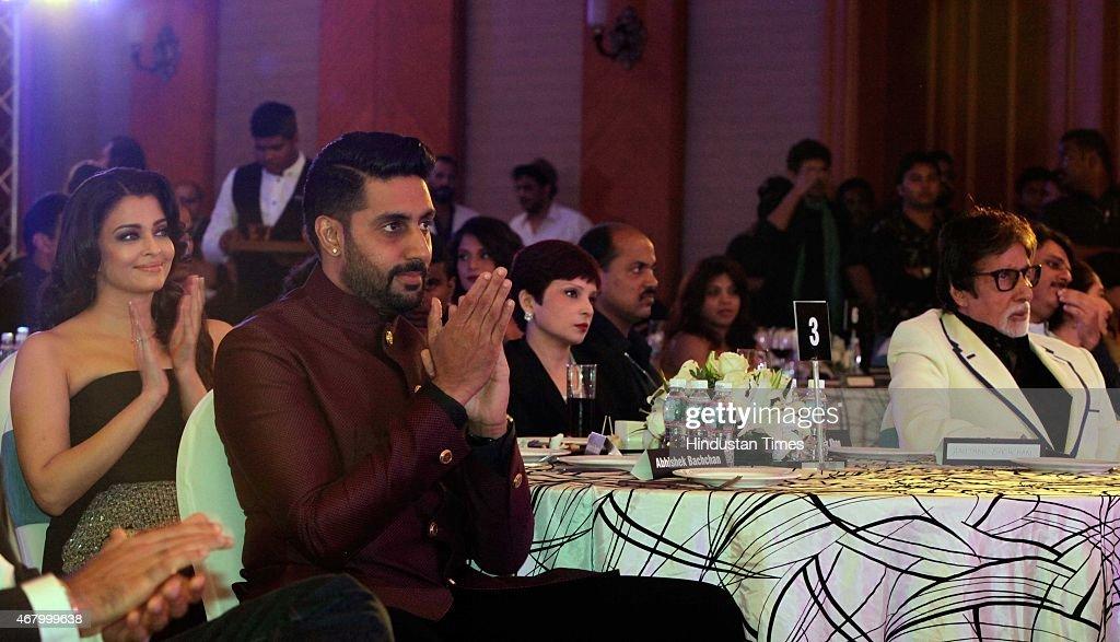 Bollywood actors Amitabh Bachchan Abhishek Bachchan and Aishwarya Rai Bachchan during the Hindustan Times Mumbai`s Most Stylish Awards 2015 at JW...