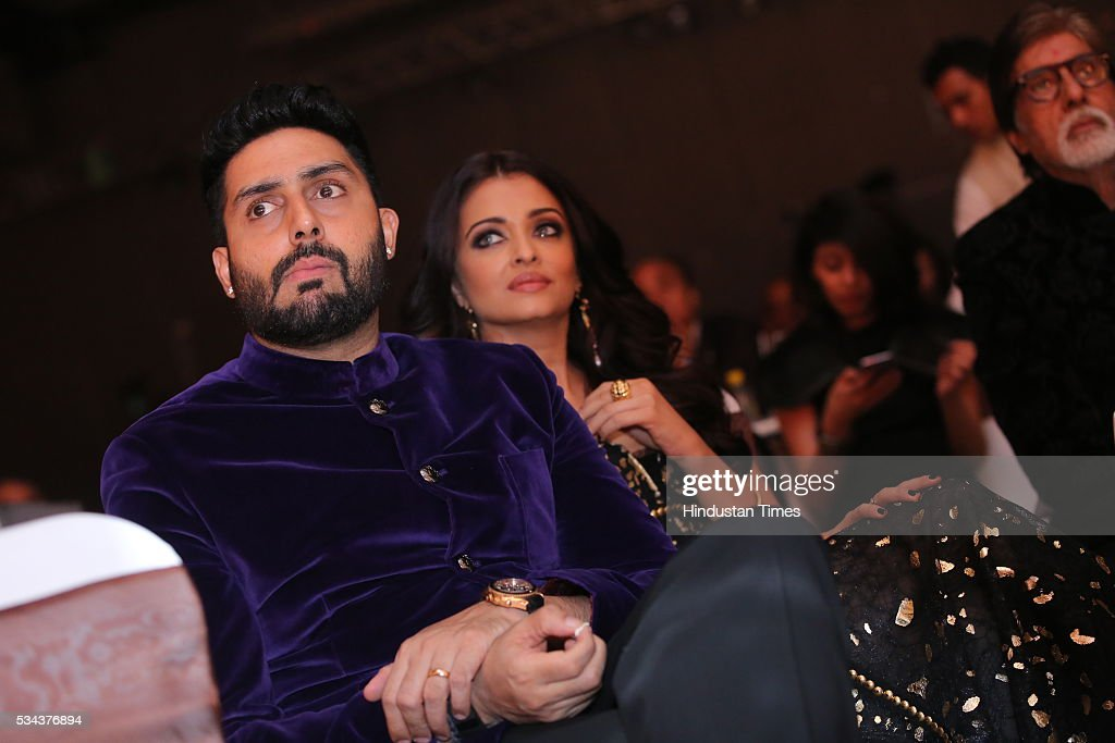 Bollywood actors Amitabh Bachchan Abhishek Bachchan and Aishwarya Rai Bachchan during the sixth edition of Hindustan Times Most Stylish Awards 2016...