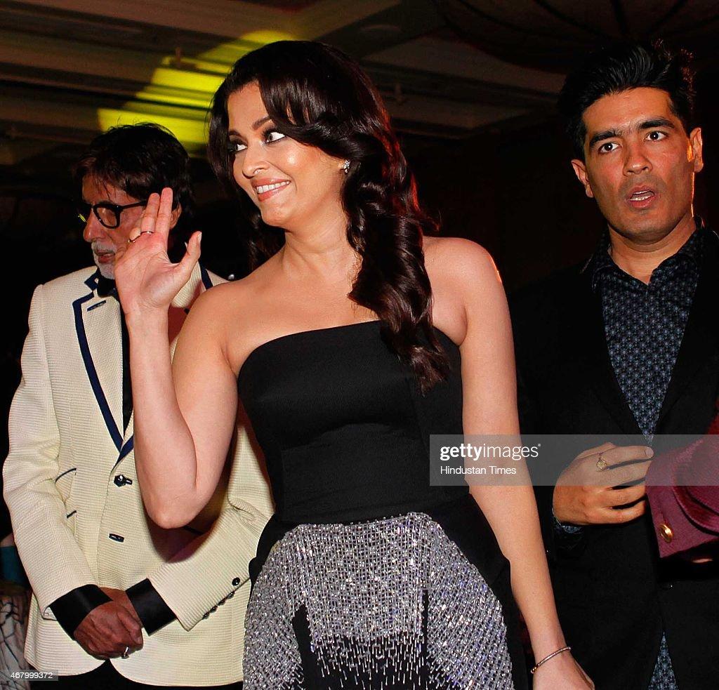 Bollywood actors Amitabh Bachchan Aishwarya Rai Bachchan and fashion designer Manish Malhotra during the Hindustan Times Mumbai`s Most Stylish Awards.