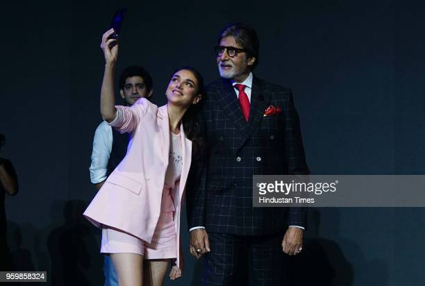 Bollywood actors Amitabh Bachchan and Aditi Rao Hydari during the launch of OnePlus 6 smartphone at NSCI on May 17 2018 in Mumbai India The OnePlus 6...