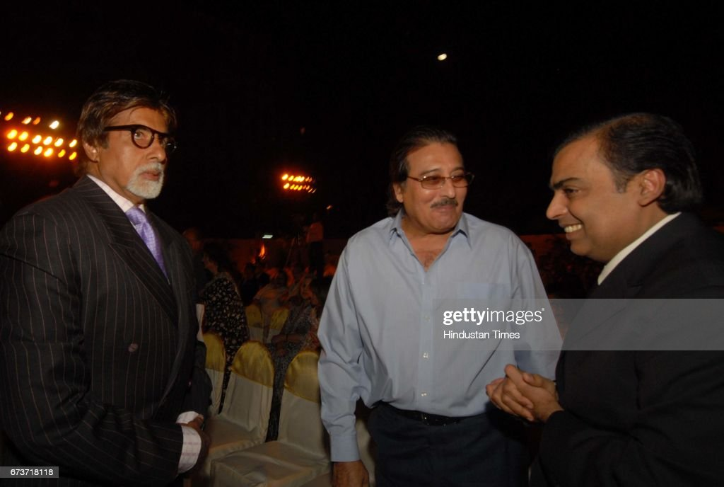 Bollywood actors Amitabh Bachchan and Vinod Khanna with Mukesh Ambani at Seth Walchand Hirachand's birth anniversary at Cricket Club of India...