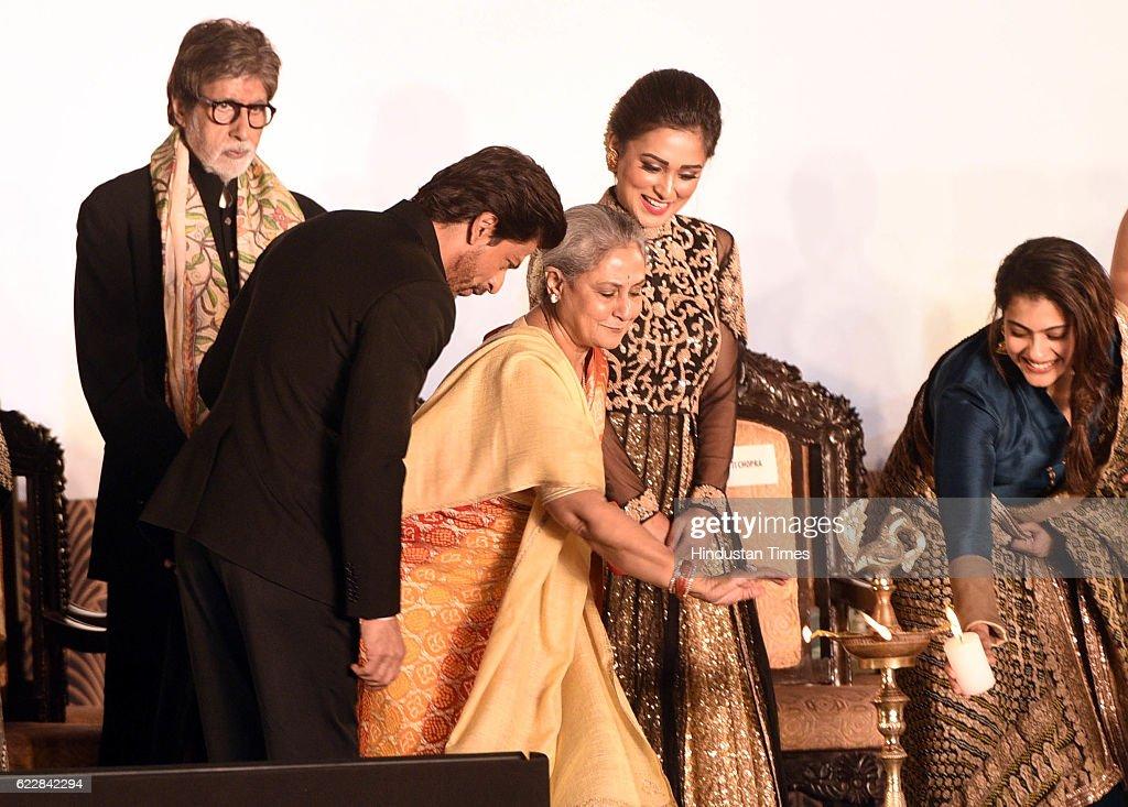 Bollywood actors Amitabh Bachchan Jaya Bachchan Shah Rukh Khan and Kajol during an inauguration of the 22nd Kolkata International Film Festival at...