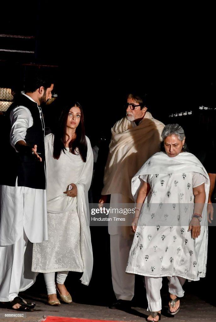 Bollywood actors Amitabh Bachchan Jaya Bhaduri Bachchan Abhishek Bachchan and Aishwarya Rai Bachchan during the prayer meeting in loving memory of...