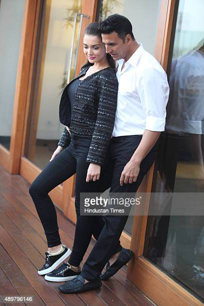 Bollywood actors Amy Jackson and Akshay Kumar pose for a profile shoot on September 20 2015 in New Delhi India Their upcoming film Singh Is Bliing is...