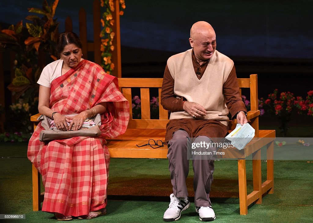 Bollywood actors Anupam Kher and Neena Gupta performing a play `Mera Who Matlab Nahi Tha` in Tagore Theatre on May 18 2016 in Chandigarh India...