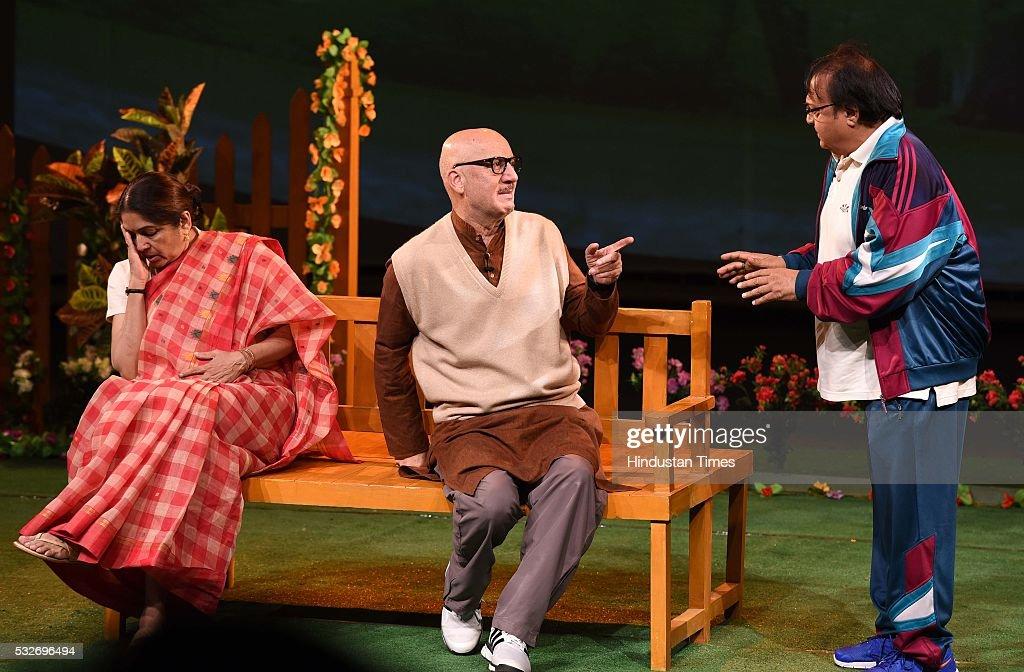 Bollywood actors Anupam Kher Neena Gupta and Rakesh Bedi performing a play `Mera Who Matlab Nahi Tha` in Tagore Theatre on May 18 2016 in Chandigarh..
