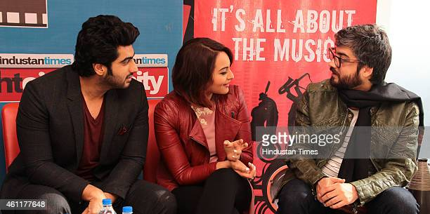 Bollywood actors Arjun Kapoor and Sonakshi Sinha with director Amit Sharma during an exclusive interview for their upcoming movie Tevar at HT Media...