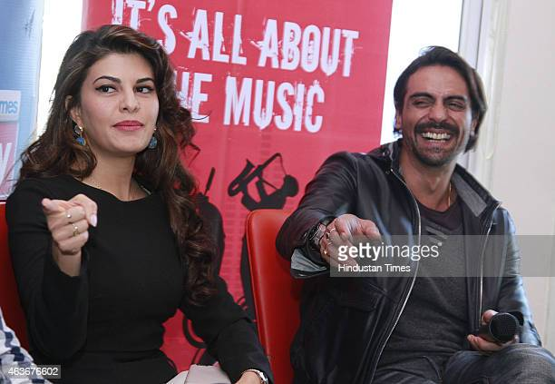 Bollywood actors Arjun Rampal and Jacqueline Fernandez during an interview for the promotion of their upcoming film Roy at HT House on February 10...