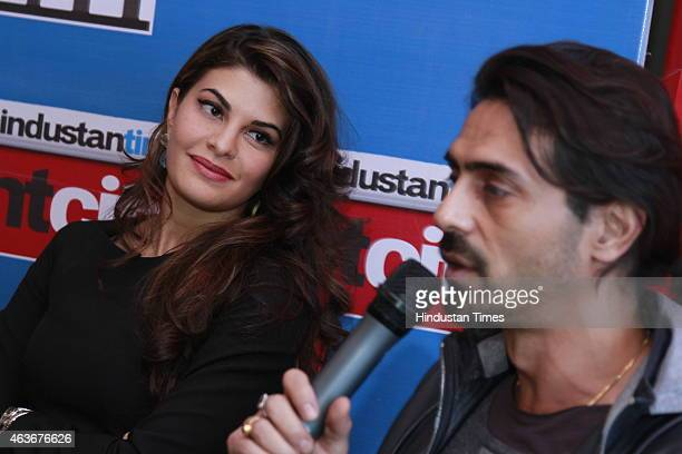 Bollywood actors Arjun Rampal and Jacqueline Fernandez during an interview for the promotion of their upcoming film Roy at HT House on February 10,...