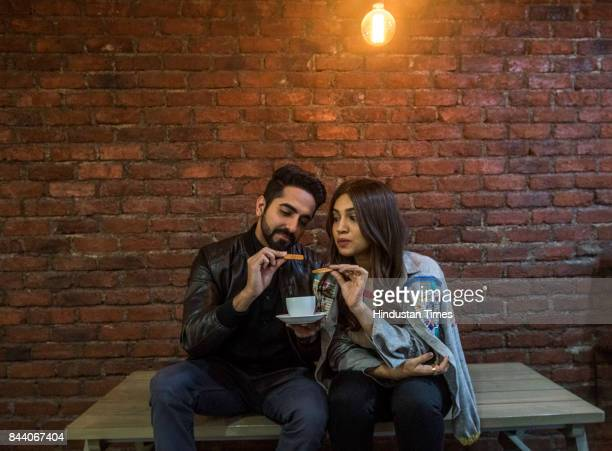 Bollywood actors Ayushmann Khurrana and Bhumi Pednekar pose for picture during the promotion of their upcoming film Shubh Mangal Saavdhan at Eros...