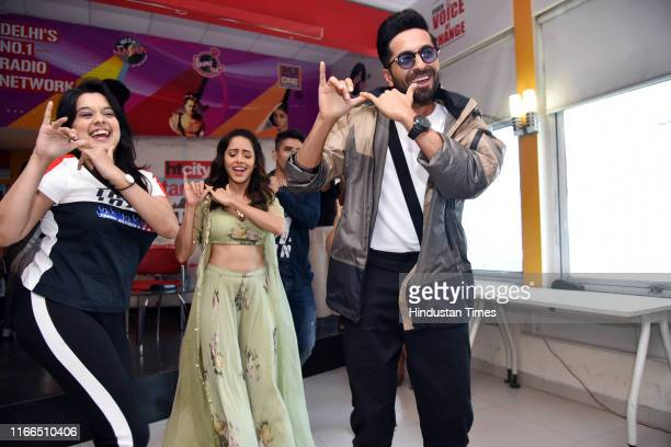 Bollywood actors Ayushmann Khurrana and Nushrat Bharucha during an exclusive interview with HT CityHindustan Times for the promotion of their film...