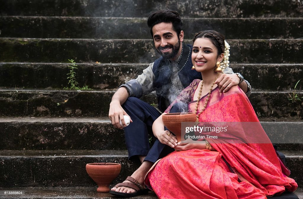 Bollywood actors Ayushmann Khurrana and Parineeti Chopra pose for a Durga Puja shoot during an exclusive interview with HT CafeHindustan Times at...