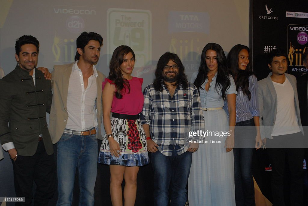 Bollywood actors Ayushmann Khurrana Sushant Singh Rajput Sophie Chaudhary music director Pritam Chakraborty with actors Neha Dhupia Lisa Haydon and...