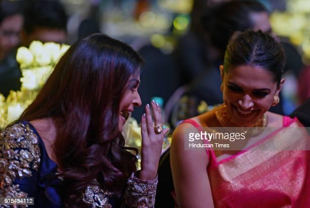 Bollywood actors Deepika Padukone and Aishwarya Rai Bachchan share light moments during Hindustan Times India's Most Stylish Awards 2018 at Yash Raj...