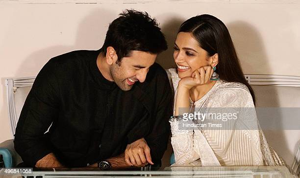 Bollywood actors Deepika Padukone and Ranbir Kapoor during an exclusive interview for Diwali festival with HT CafeHindustan Times at Cafe Terra...