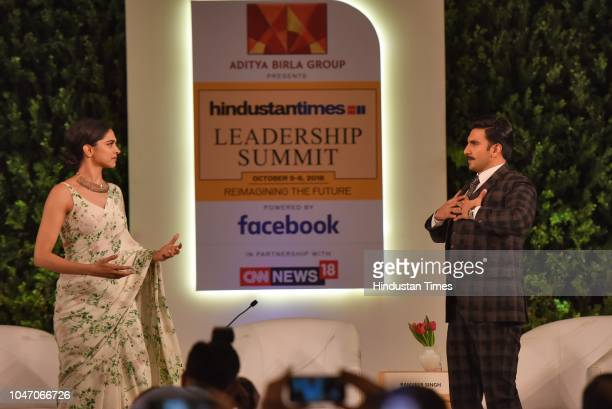 Bollywood actors Deepika Padukone and Ranveer Singh during a first day of Hindustan Times Leadership Summit 2018 at Taj Palace on October 5 2018 in...