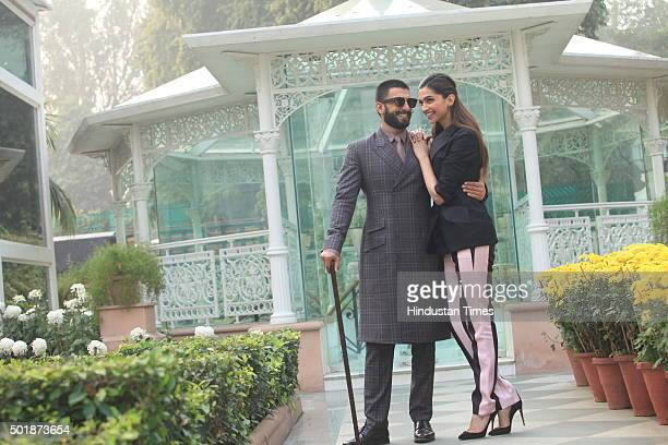 Bollywood actors Deepika Padukone and Ranveer Singh pose for a profile shoot during an interview for the promotion of their upcoming movie Bajirao...