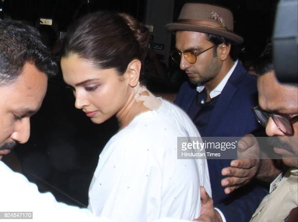 Bollywood actors Deepika Padukone and Ranvir Singh visit Anil Kapoor residence at Juhu to offer condolences to the family after the demise of...