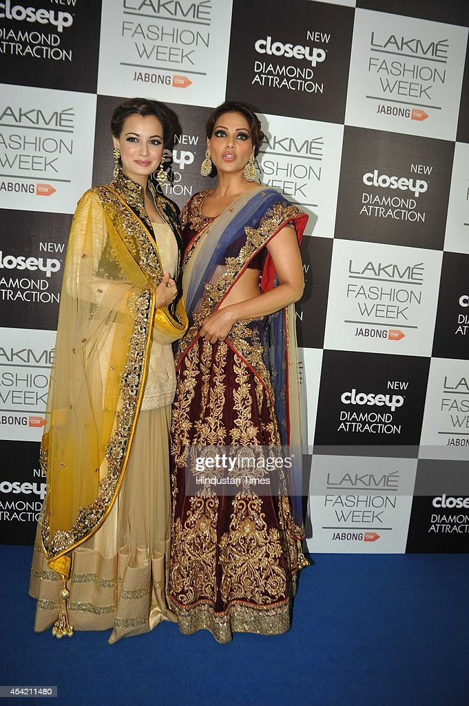 Bollywood actors Dia Mirza and Bipasha Basu during show by fashion designer Manish Malhotra at the Lakme Fashion Week Winter/ Festive 2014 on August..