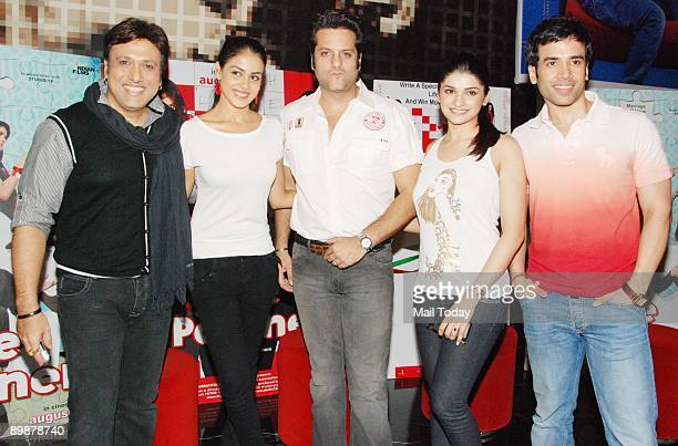 Bollywood actors Govinda Genelia D'Souza Fardeen Khan Prachi Desai and Tushar Kapoor at a press meet for their film Life Partner in Mumbai on Momday...