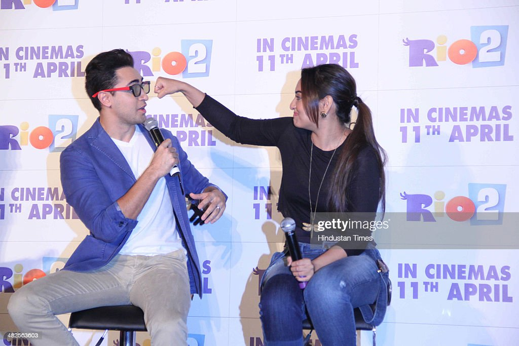 Bollywood actors Imran Khan and Sonakshi Sinha during the trailer launch of film Rio 2 at PVR Juhu on April 2 2014 in Mumbai India