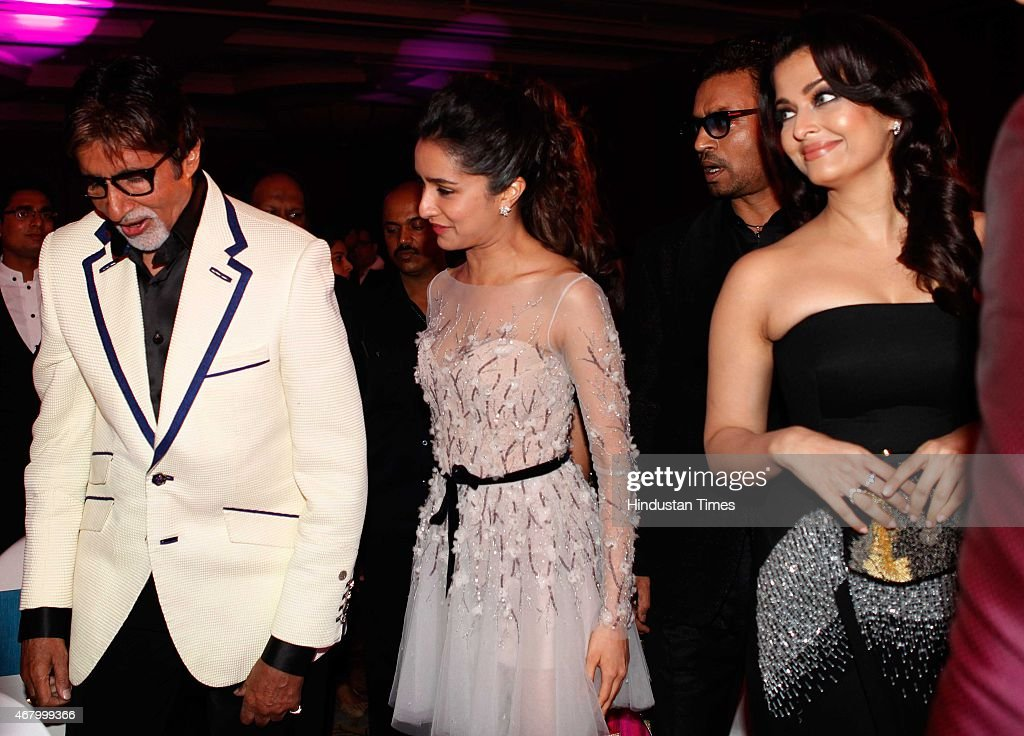 Bollywood actors Irrfan Khan Aishwarya Rai Bachchan Shraddha Kapoor and Amitabh Bachchan during the Hindustan Times Mumbai`s Most Stylish Awards 2015.