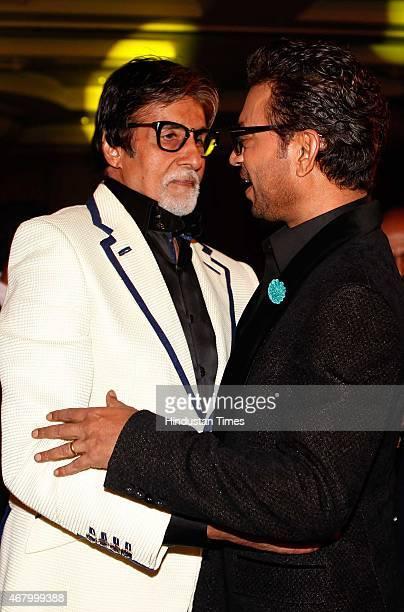 Bollywood actors Irrfan Khan and Amitabh Bachchan during the Hindustan Times Mumbai's Most Stylish Awards 2015 at JW Mariott Hotel, Juhu on March 26,...