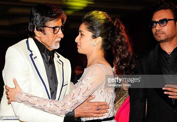 Bollywood actors Irrfan Khan, Shraddha Kapoor and Amitabh Bachchan during the Hindustan Times Mumbai's Most Stylish Awards 2015 at JW Mariott Hotel,...