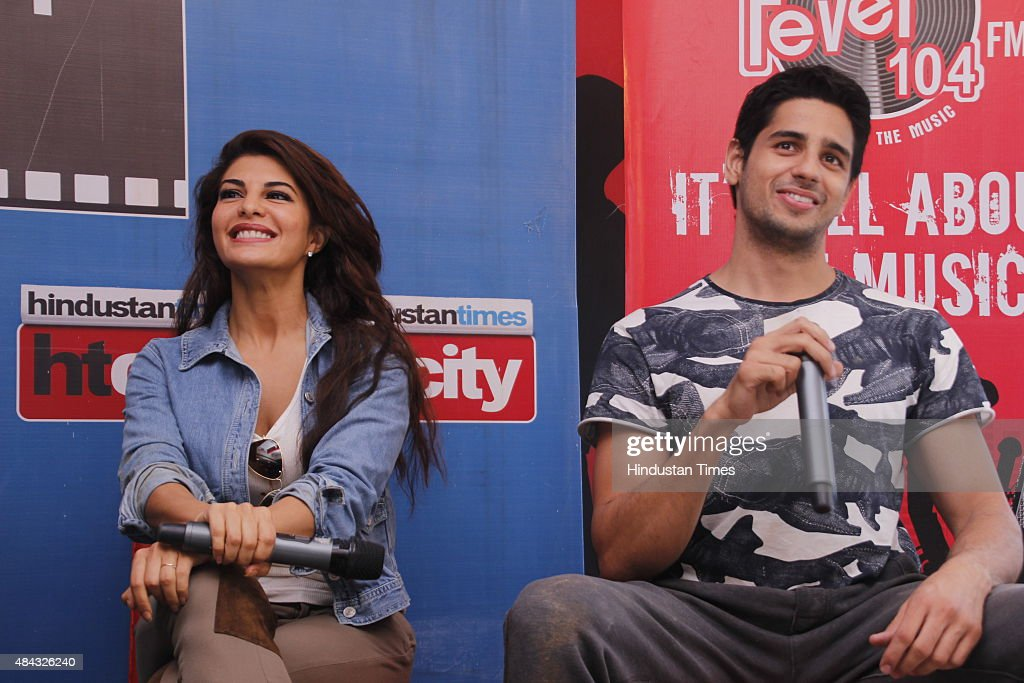Bollywood actors Jacqueline Fernandez and Sidharth Malhotra during an exclusive interview for the promotion of their upcoming film Brothers at HT...