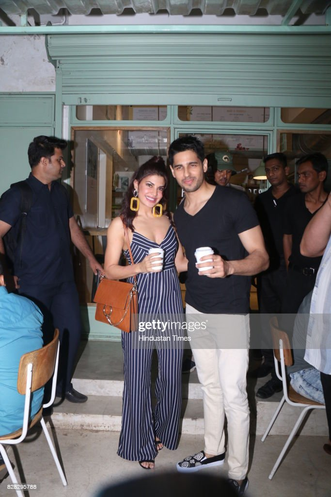 Bollywood actors Jacqueline Fernandez and Sidharth Malhotra spotted at Kitchen Garden Bandra on August 6 2017 in Mumbai India