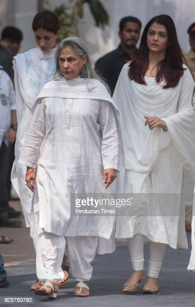 Bollywood actors Jaya Bachchan and Aishwarya Bachchan at celebration club to pay last respect to the late actor Sridevi at Andheri on February 28...