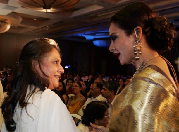 Bollywood actors Jaya Bachchan and Rekha Launch of the Gautam Rajadhyaksha `s Book Chehre at JW Marriott at Juhu