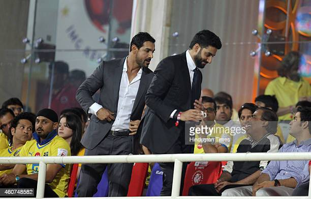 Bollywood actors John Abhrahm and Abhishek Bachchan during the final match of ISL played between Mumbai City FC and Atletico De Kolkata at DY Patil...