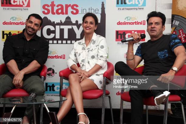 Bollywood actors John Abraham Aisha Sharma and Manoj Bajpayee during an exclusive interview with HT CityHindustan Times for the promotion of upcoming...