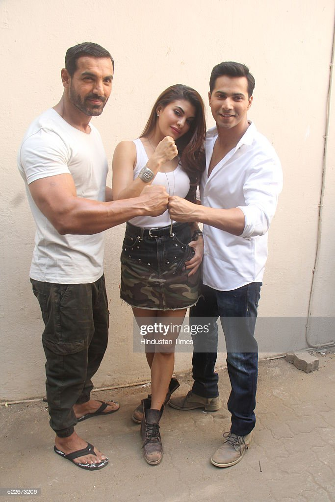 Bollywood actors John Abraham Jacqueline Fernandez and Varun Dhawan during the wrap up of shooting of film Dishoom at Mehboob studio Bandra on April..