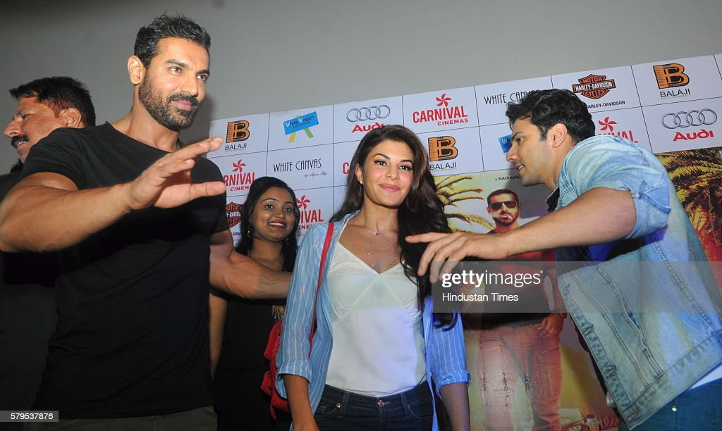 Bollywood actors John Abraham Jacqueline Fernandez and Varun Dhawan promote their upcoming movie Dishoom on July 24 2016 in Indore India Dishoom is...