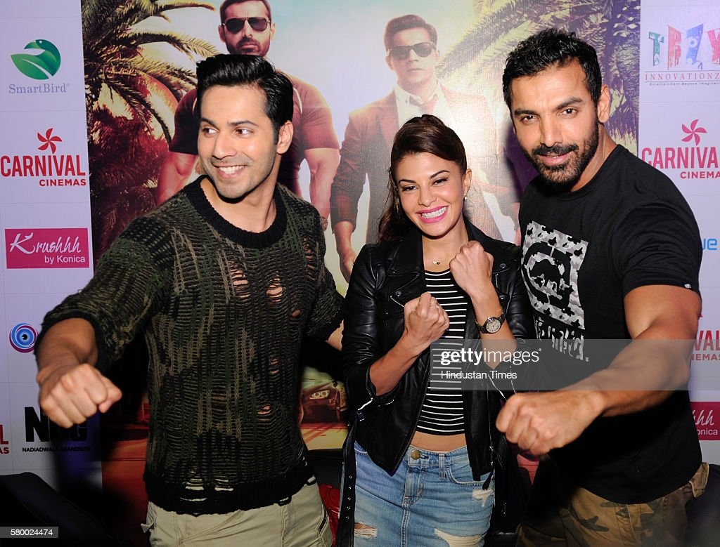 Bollywood actors John Abraham Jacqueline Fernandez and Varun Dhawan promote their upcoming film `Dishoom` on July 25 2016 in Noida India Dishoom is...
