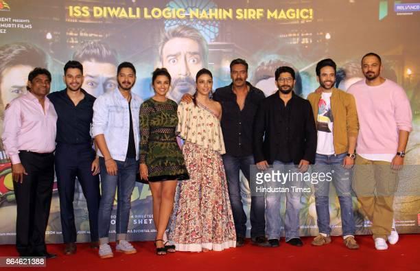 Bollywood actors Johnny Lever Kunal Khemu Shreyas Talpade Parineeti Chopra Tabu Ajay Devgn Arshad Warsi Tushar Kapoor and director Rohit Shetty...