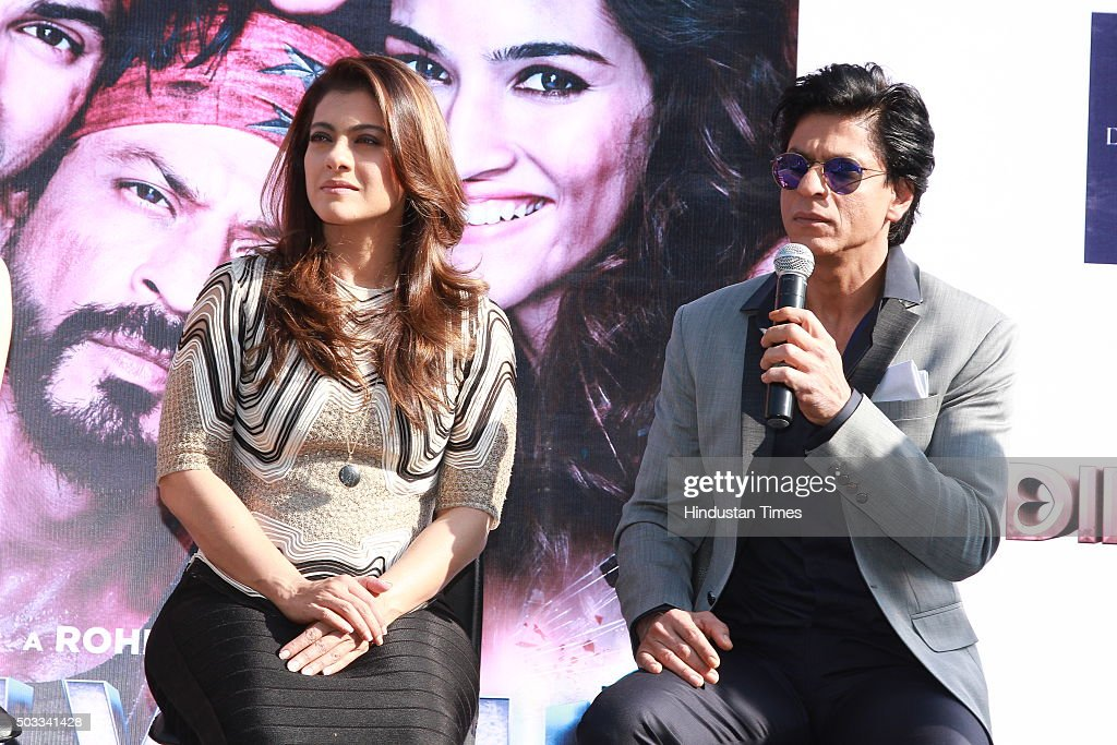 Bollywood actors Kajol and Shah Rukh Khan during the promotion of their upcoming movie Dilwale at Dusit Devarana on December 16 2015 in New Delhi...