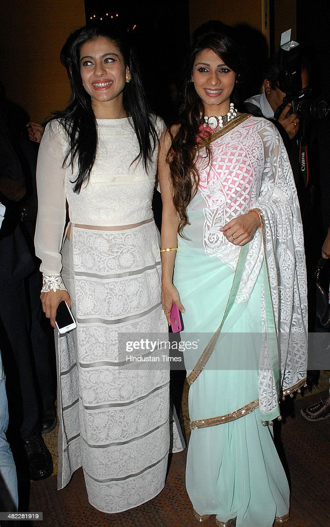Bollywood actors Kajol and Tanisha Mukherjee during Men for Mijwan Fashion Show at Grand Hyatt on April 1 2014 in Mumbai India The fashion show was...